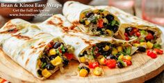 Black Bean and Vegetable Burritos Add a chopped zuke. Brush burritos with oil and bake at 400 degrees for 15 minutes or grill into quesadila. Vegan Mexican Recipes, Vegetarian Recipes, Cooking Recipes, Healthy Recipes, Vegetarian Protein, Eat Healthy, Cooking Time, Healthy Life, Vegan Burrito