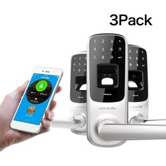 """3 Pack - Ultraloq UL3 Bluetooth Enabled Biometric Fingerprint and Touchscreen Smart Lever Locks. Satin Nickel """"Smart Phone not included"""""""