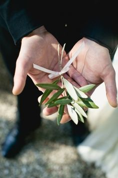 olive branch boutonniere. Italian wedding inspirations