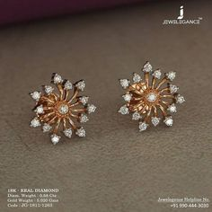 Diamond dewdrops to sparkle. Get In Touch With us on Diamond Earrings Indian, Gold Jhumka Earrings, Jewelry Design Earrings, Gold Earrings Designs, Gold Jewellery Design, Fashion Jewellery, Diamond Stud Earrings, Emerald Jewelry, Small Earrings