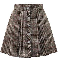 82def6dbc Cruiize Womens Classic Plaid SingleBreasted Pleated Mini Swing Skirts Khaki  M -- BEST VALUE BUY