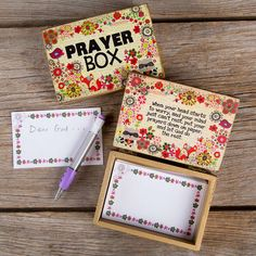 Newsprint Fox Wooden Prayer Box  - We loved our prayer boxes so much that we created new ones! This painted wooden prayer box has fun little critters and flowers and comes with paper notes, mechanical pencil, and an inspirational message inside the lid.  Enough notes for 50 prayers!