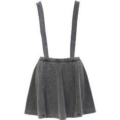 River Island Grey acid wash dungaree skater skirt
