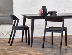 Merano Black Stained Beechwood Dining Chair with Black Pad by Alex Gufler for…
