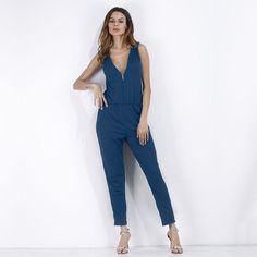 e9387963dd4 6 Colors New Summer Women Deep V Zip Up Sexy Rompers Jumpsuit Ladies Elegant  Sleeveless Casual Work Playsuit Solid Long Overalls