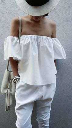 summer white outfit hat + top + pants