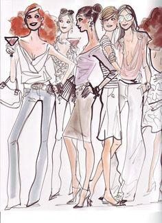 Girls night out by Izak Zenou #fashion #illustration #Izak #TrafficNYC