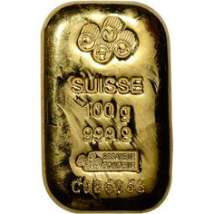 100 gram Gold Bar Bullion - PAMP Suisse - Poured - 999.9 Fine with Assay