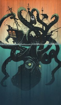 Inspiration | Octopus Pirate Ship Illustration By Tyler Champion