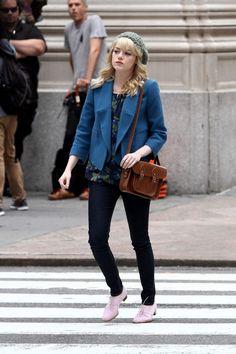 Emma Stone - Emma Stone on the 'Spider-Man 2' Set
