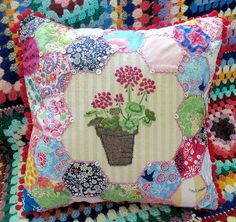 """great project - hexagons arenot HAND PIECED WITH PAPERS - """"QUICK AND EASY""""  Summer Gypsy Cushion by Bustle & Sew"""
