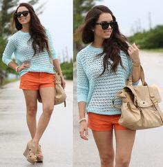 Beginning Boutique Celeste Sweater, Zara Orange Shorts, Mimi Boutique Bag, Xiomara Lisette Nude Wedges, Furor Moda Sunglasses