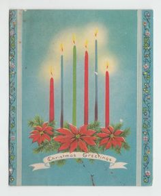 Vintage-Candles-on-Poinsettias-Christmas-Greeting-Card