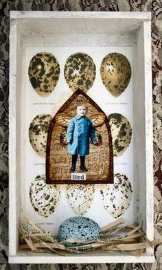 Bird's Nest Cigar Box by Nancy Maxwell James    She used my sweet little blue boy with wings.  Love it!