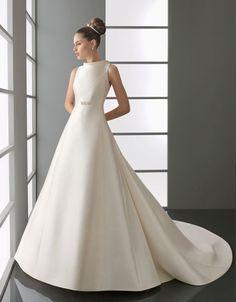 Modern high neck natural waist satin wedding dress