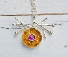 Gold flower necklace pendant; sterling silver/pink ruby - by Macalania