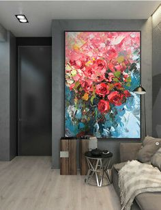 Details about Hand Painted Modern Abstract Canvas Oil Painting Wall Art Home Flower 915 Modern Hand Painted Abstract Rose Flower Oil Painting Art Home Decor On Canvas Flower Painting Canvas, Oil Painting Flowers, Abstract Flowers, Oil Painting Abstract, Abstract Canvas, Canvas Art, Painting Art, Flower Canvas, Large Painting