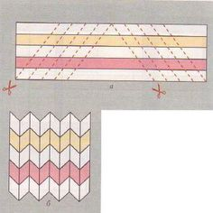 Easy Chevrons: Strip piece, cut half in one direction, cut the other half in the opposite direction, (angles are the same), assemble alternating strips. Tutorial Patchwork, Patchwork Patterns, Quilt Block Patterns, Quilt Blocks, Chevron Quilt Pattern, Jelly Roll Quilt Patterns, Quilting Tips, Quilting Tutorials, Quilting Projects