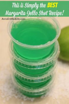 Margarita Jello Shots Recipe. This is simply the best Margarita jello shot recipe you will ever make! It truly tastes like a Margarita. Make them salted in a regular shot glasses full of this delightful concoction, or unsalted to-go gelatin shots in stack-able disposable containers. Great for parties, tailgating, and more!