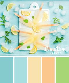 Homemade lemonade popsicles with mint and ice on white ceramic board over blue turquoise background, top view Summer Color Palettes, Pastel Colour Palette, Colour Pallette, Color Palate, Summer Colors, Colour Schemes, Pastel Colors, Color Combos, Color Patterns