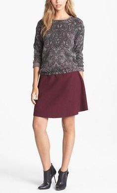 Print Sweatshirt + Maroon Skirt