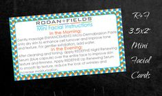 Rodan  Fields Mini Facial Instructions Business Card by MyMagicMom