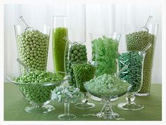 Smart idea - green M and Ms or a green candy could be put in mason jars to brighten up color on the tables - plus people can eat it.