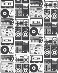 charcoal drawing design Analog Nights Wallpaper in Charcoal design by Aimee Wilder - Graphic Wallpaper, Music Wallpaper, Graffiti Wallpaper, Hip Hop Art, Design Repeats, Music Artwork, Retro, Pattern Wallpaper, Radios