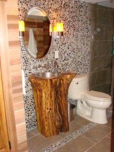 rustic log vanities