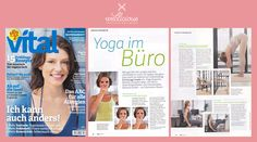 Performance ready? German magazine Vital is exclusively featuring the famous TV-presenter Kerstin Linnartz wearing Wellicious. Kerstin shows us how to keep up your concentration on a long working day by doing Yoga at the office. Doesn't she look amazing wearing the new seasons Insight Top in Celery/ Cool Violet.  Get her style now at www.wellicious.com/yoga-clothing/yoga-tops/insight-top.html