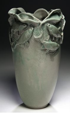 gorgeous vase - Jim Valentine, Confusion in Shallow Water, 2011, porcelain vase with celadon glaze
