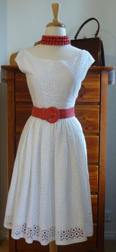 White cotton lace dress features fitted by MyOneandOnlyVintage, $200.00