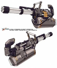 Weapon design from EXTEEL the fast paced sci-fi MMO shooter Gatling Gun Sci Fi Weapons, Weapon Concept Art, Fantasy Weapons, Weapons Guns, Guns And Ammo, Zombie Apocalypse Weapons, Future Weapons, Cool Guns, Military Weapons