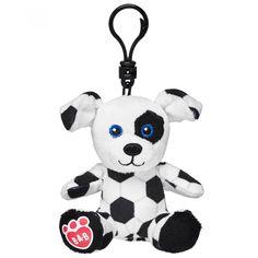 Build-a-Bear Workshop llavero de perrito de fútbol en tejido de punto color blanco con diseño a contraste y broche metálico .