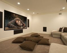 I like the cushion idea for the kids and space for exercising and playing video games...Media Room Design, Pictures, Remodel, Decor and Ideas - page 17