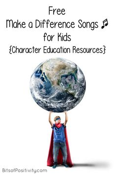 Lots of free make a difference songs for character education at home or in the classroom; songs for a variety of ages - Bits of Positivity Montessori Art, Montessori Elementary, Elementary Music, Kid Character, Character Education, Peace Songs, Positive Songs, Kindness Projects, Song Words