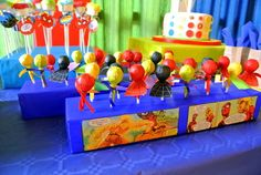 Decorated lollipops at a Superhero Party #superhero #party