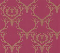 Barneby Gates Deer Damask Claret Wallpaper main image