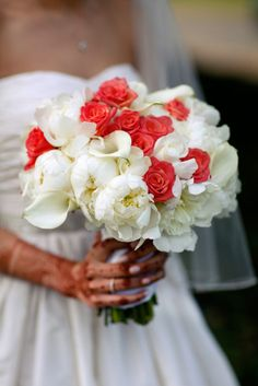 Red and White Calla Lily Rose and Peony Bouquet   photography by http://www.artofloveweddings.com/