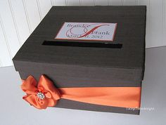 Wedding Card Box Charcoal Grey and Orange  by LaceyClaireDesigns, $69.00