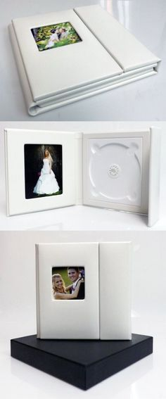 Wedding Story DVD/CD Case (Set of 2), White , PU Leather, Overlapping, Holds 1 Disc/2 photos