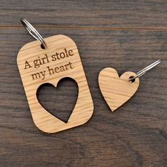 A Girl Stole My Heart Valentines Day Love Keyring Present for Girlfriend - Pretty Personalised