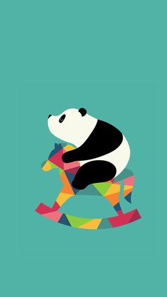 Panda Bear on a rocking horse art