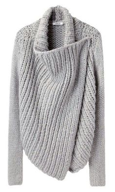 Helmut Lang / Shawl Cardigan--maybe someone could come up with a pattern - Knitting Mode Style, Style Me, Trendy Style, Diy Pullover, Look Fashion, Womens Fashion, Fashion Tips, Fashion Hacks, Fashion Outfits