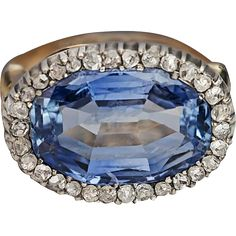Antique 10 Ct Ceylon Sapphire and Diamond Ring from romanovrussia on Ruby Lane