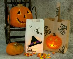 Create these fun and spooky luminaria to decorate at Halloween. Combine Perler Beads crafting with a little rubber stamping for a great look. Just tuck a battery-operated flicker light inside for the perfect look at night!