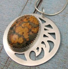 Items similar to HERE COMES The SUN yellow jasper cutwork sterling pendant by Crazy Daisy Designs on Etsy