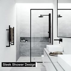 Bring modern luxury and a spacious, spa-like feel to your contemporary bathroom with the VIGO Fixed Glass Shower Screen. Modern bathroom Ideas and Design - Bathroom Inspiration - Bathroom Remodel Bathtub Doors, Frameless Shower Doors, Bathtub Glass Panel, Modern Shower Doors, Modern Bathroom Design, Bathroom Interior Design, Minimal Bathroom, Minimalist Bathroom Design, Kitchen Interior