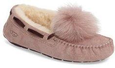 Want! Pink Ugg Dakota Genuine Shearling Pompom Slippers Pom Pom Slippers, Pink Slippers, Womens Slippers, Pink Uggs, Pink Boots, Pink Sandals, Pink Sneakers, Platform Pumps, Moccasins