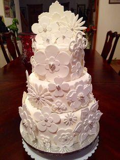 White Fondant Flower Cake(My Birthday Cake I Made)
